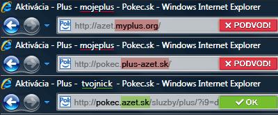 Ukážka podvodnej URL adresy v prehliadači